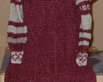 Crocheted Vintage 1980s Cranberry Sweater Dress