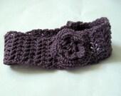 Custom Women's Crochet Headband Earwarmer Headwrap with Crochet Flower -- You Choose Colors