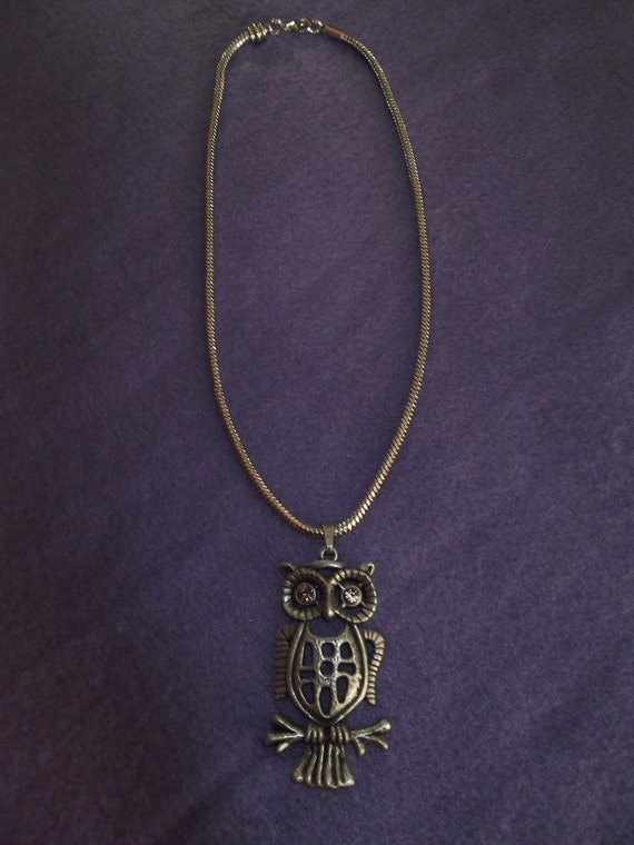 Cute Oxidized silver Owl pendant with White Gold plated Snake Chain Necklace