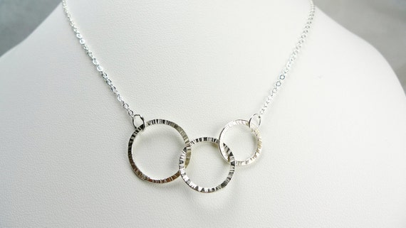 3 Interlink Silver Rings Necklace