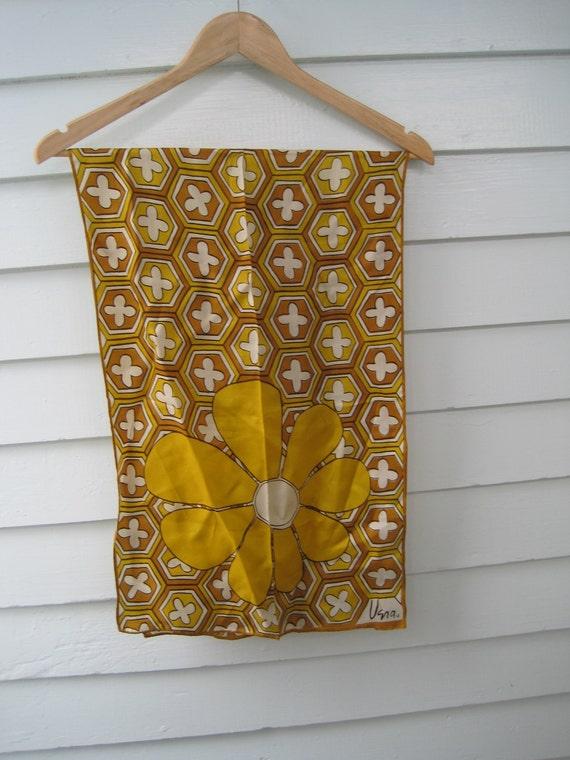 Vintage Vera Neumann Scarf--Groovy Floral Marigold Mustard Brown Vintage Vera Scarf, Rectangular