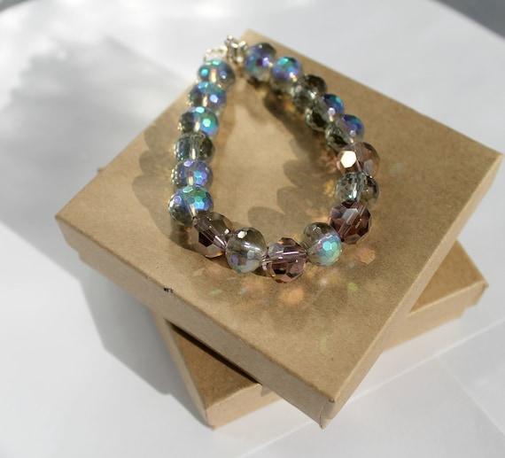 Beaded Bracelet, Amethyst and Smokey Glass Beaded Bracelet