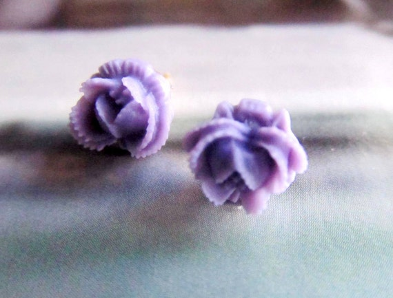 Lavender Floral Stud Earrings -Flower Earring Post-Little Tiny  Cabbage Rose Posts- Great gift for the holiday