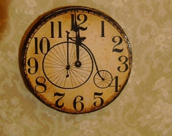"Dollhouse Miniature Victorian ""High Wheel"" Bicycle Clock, Half Inch Scale"