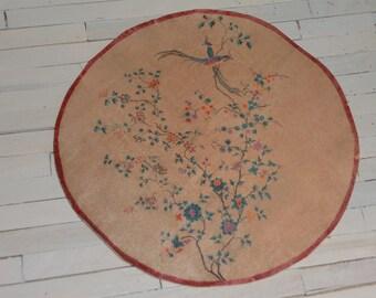 Dollhouse Vintage Art Nouveau Round Rug, Scale One Inch, TREASURY LIST