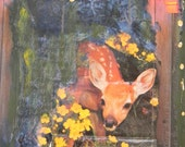 """Giclee // art // print // homemade // """"Letting There Be Room, Deer"""" 5 x 7"""