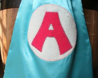Turquoise Girls Superhero Cape-Girls Superhero Costume-Personalized Letter-custom letter- Reversible - Superhero Party