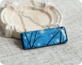 tree branches necklace - blue jewelry - Free shipping