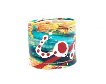 Small Cuff Wrist Band - Hemp Cuff - Canvas Bracelet - Wide Wrist Band - Cuff Bracelet - Bright - Kids Bracelet - Orange Blue Bracelet Cuff