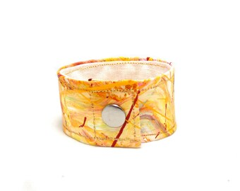 Organic Hemp Cuff Bracelet - Hand Painted with Warm, Pale Yellow, Orange and Red - Eco Conscious Accessory, Medium Size Cuff Bracelet