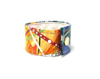 Rainbow Cuff - Painted Hemp Bracelet - Hemp Cuff  - Fiber Arts - Hand Painted - Wrist Band - Wide Wrist Band - Rainbow Fashion