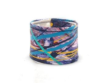 Painted Cuff Wrist Band - Lavender Purple Blue Bracelet - Hemp Cuff - Wide Hemp Bracelet - Ladies Cuff - Womens - Summer Trends - Jewelry