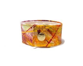 Rustic Orange Cuff Bracelet - Bright Orange - Red Yellow Orange  Wide Cuff - Hemp Cuff - Hemp Jewelry - Organic Hemp Cuff - Fashion Cuff