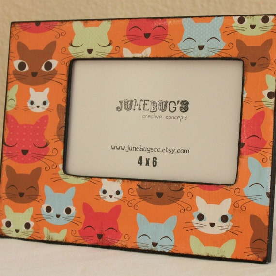 Cat Lovers 4x6 Photo Picture Frame- Tabletop or Wall Wood Personalized