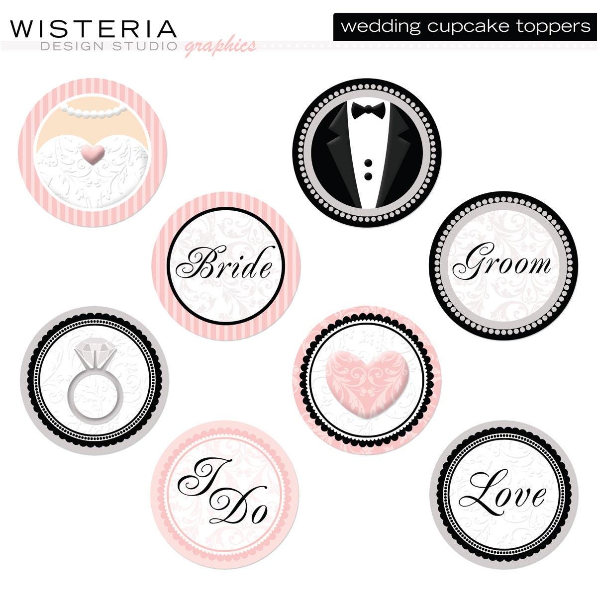 Wedding Cupcake Toppers Diy Printables By Wisteriadesignstudio