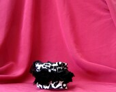 Cuff with black fabric roses. Cuff with animal pattern fabric. Eco friendly mothers day.  Fabric cuff. Juvenile cuff. Stylish cuff.