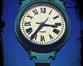 RUSTIC ANTIQUE CLOCK Art Photo Print