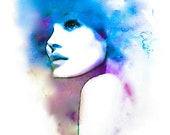 Violet and Blue Hues- Watercolor Fashion Illustration Abstract Fine Art Print