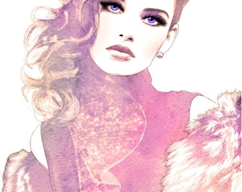 Prestige - Glamorous Watercolor Fashion Illustration Fine Art Print