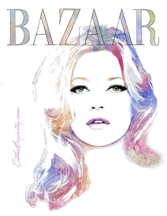 Kate - Watercolor Fashion Illustration Harper's Bazaar Fine Art Print