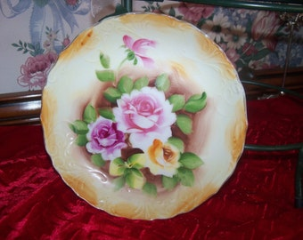Shabby Chic Bowl Pink Cabbage Rose Hand Painted Pink Enesco