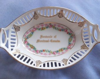 Antique Pink Rose Bavarian Oval Bowl Pierced edge Bowl  Souvenir of Montreal - Canada Ca. 1920's by Schumann