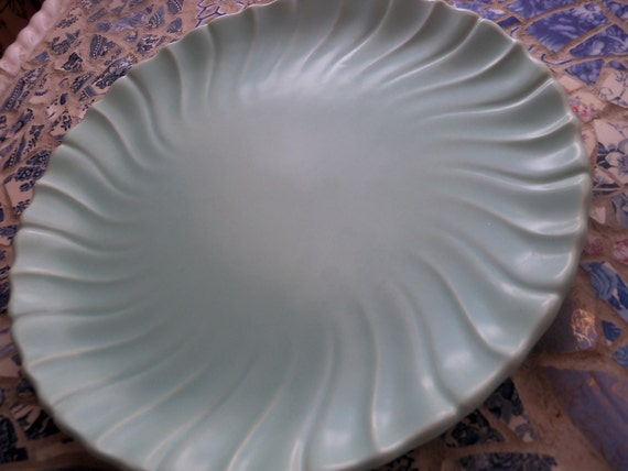 Vintage Franciscan Ware Coronda Blue Chop Plate Swirl Platter BABY BLUE Cottage Chic Chop Plate AQUA 1947- 1949