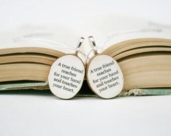 Best friend necklace set wood, best friend gift , gift for best friend , reclaimed wood gift, friendship gift, best friends