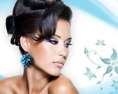 Blue Flower Earrings. Polymer Clay Flower Earrings. Dangle Earrings. Flower Jewelry. Blue Jewelry