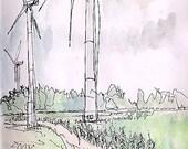 Original fine art framed watercolor landscape painting titled Arise Massive Wind Turbines, corn field ecology renewable energy art 10.5x11.5