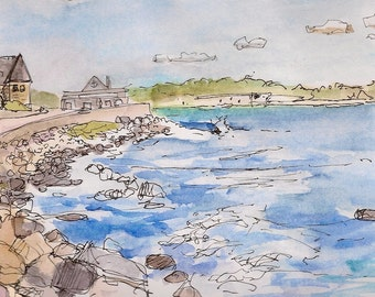 Fine art glicee signed art print landscape of wall and Narragansett Towers coast guard house 8.5x11