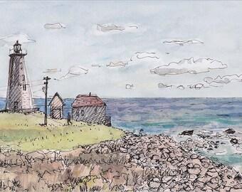 Point Judith Lighthouse, Narragansett, RI by the beach, Fine art print 8.5x11 of landscape painting, Landscape & Architecture, Travel Art