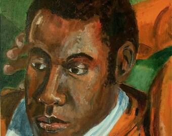 Pensive young man in orange sweater, Art Print  8.5x11