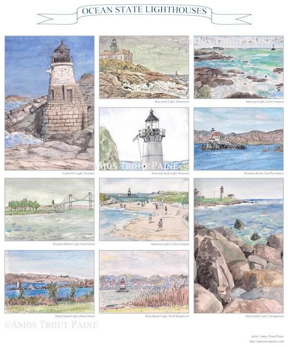Fine art print glicee, 8.5x11 landscape print of Rhode Island lighthouses Warwick Light Narragansett Bay Little Compton East Providence