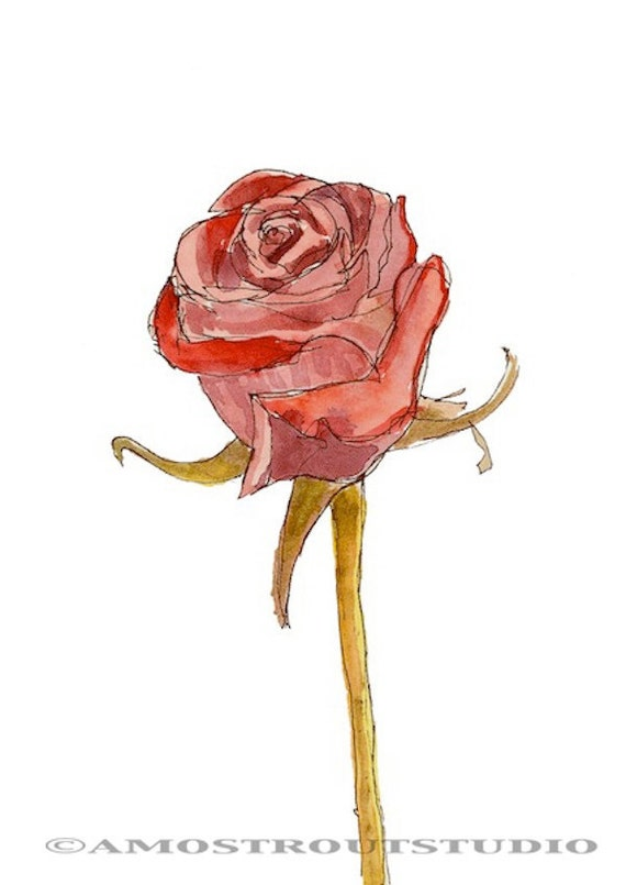 Single red rose, wall decor Home & Living decor archival giclee print signed 8.5x11 Nature, Gift for Her Drawing and Illustration Painting
