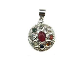 925 Sterling Silver Navratan Pendant Studded Precious Nine Planet Gemstones Religious Astrology Spiritual Locket Lucky Charm