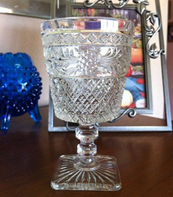 Set of 6 Imperial Glass Leaf Pattern Water Goblets EPSTeam