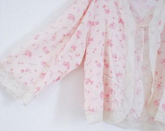 1930's Elinor Lingerie Blush Pink  Rose Bud Pattern Bed Jacket.