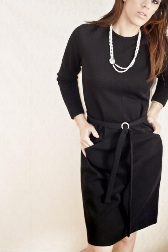 NWT 1950s Black Dress w Pockets and Rhinestone Belt