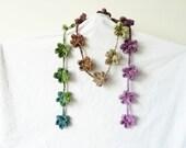 SAKURA - crochet Flower - crochet Lariat - crochet Belt - crochet Wrap Bracelet - crochet Necklace