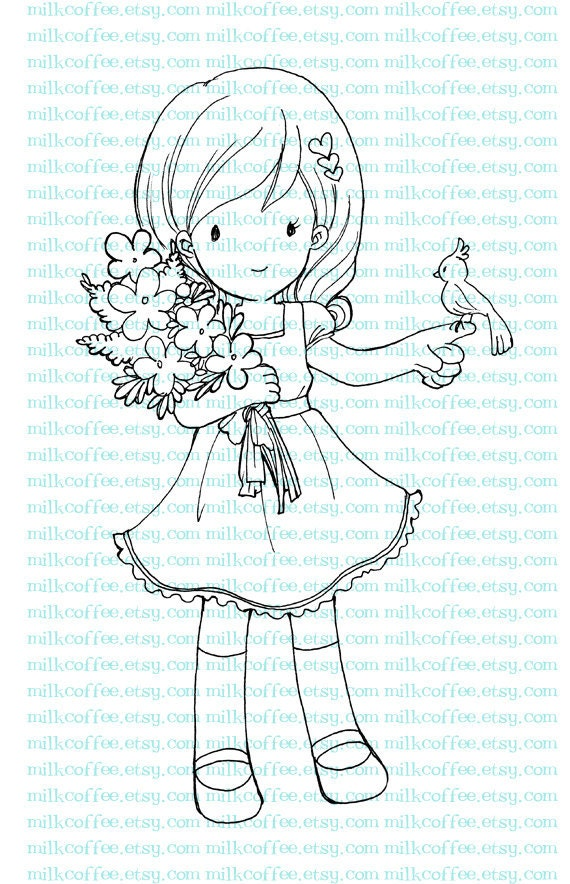 Digital Stamp Charlotte with Flower and Bird