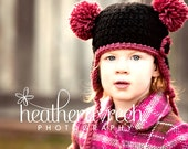 Pink and Black Earflap Hat with 2 Pom-Poms and Flower