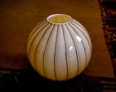 Hand-blown Ecru Striped Cased Glass, Czech, Snapdragon or Gladiola Vase Very Large 1960s Simply Modern