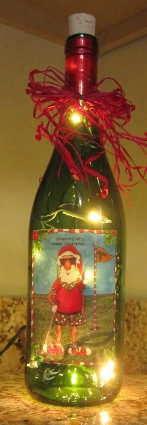 Lighted Bottle Santa Golfer