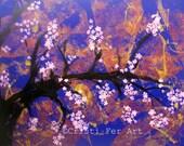 "Art Sale original Flowers Cherry Blossom semi abstract minimalist tree in bloom original acrylic on paper home decor 19.5 "" x 25.5 """