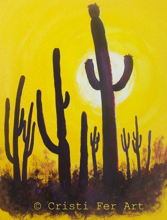 Original painting yellow South West Sonora desert hot sun minimalist acrylic on paper home office restaurant decor
