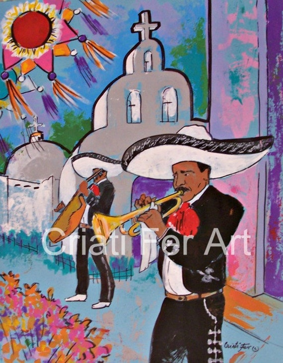 RESERVED Original painting of Mariachi at the white church small town village acrylic on paper view of Playa del Carmen street