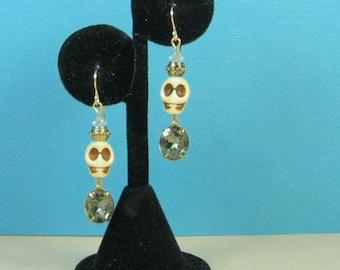 Gothic Skull Earrings with Vintage Rhinestones
