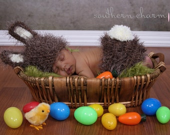 Newborn Baby Bunny Outfit Brown Hat & Diaper cover Newborn photo prop Fuzzy Brown Easter Set