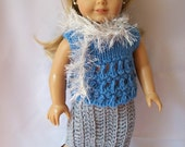 """Knitted and crocheted doll clothes includes skirt, top and sparkly silver boa scarf - American Girl doll clothes made to fit 18"""" dolls."""